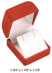 Soft Flocked Red Velour Earring Gift Box
