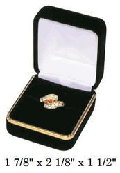 Classic Black Velvet Ring Gift Box with Brass Trim