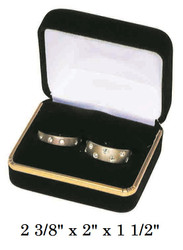 Classic Black Velvet Double Ring Gift Box with Brass Trim