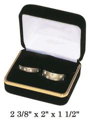 Classic Black Velvet Double Ring Gift Box with Brass Trim