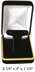 Classic Black Velvet Metal T-Shape Earring Gift Box with Brass Trim