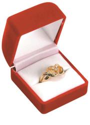 Red Soft Flocked Velour Ring Box (Square Shape)
