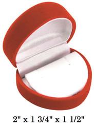 Soft Flocked Red Velour Heart Earring Gift Box