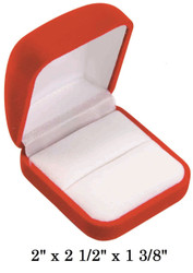 Soft Flocked Red Velour Large Ring Gift Box