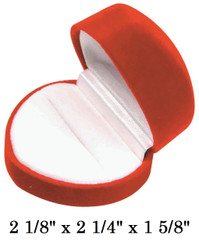Soft Flocked Red Velour Large Heart Ring Box