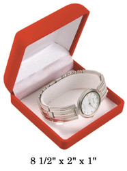 Soft Flocked Red Velour Bangle/Watch Gift Box