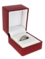 Exquisite Textured Red Ring Gift Box with Pre-tied Ribbon