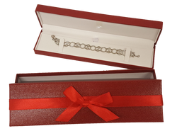 Exquisite Textured Red Bracelet Gift Box with Pre-tied Ribbon