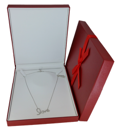 Exquisite Textured Red Necklace Gift Box with Pre-tied Ribbon