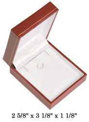 Red Earring/Pendant w/White Satin interior Classic Leatherette Box