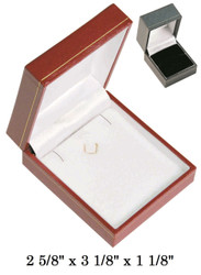 Black Earring/Pendant w/White Satin interior Classic Leatherette Box