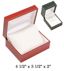 Black Small Watch w/Pillow white satin interior classic Leatherette gift Box