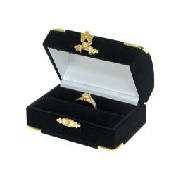 Black Double Ring Flocked Velvet Clasped Box