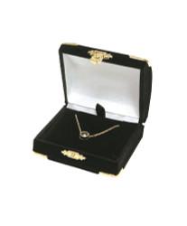 Black Pendant Flocked Velvet Clasped Box
