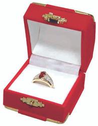 Red Earring Flocked Velvet Clasped Box