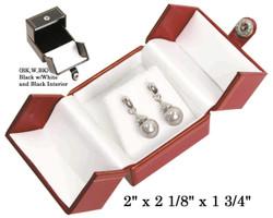 Black/White Earring Snap-Tab Leatherette Box