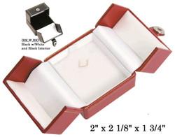 Black/White Small Pendant Snap-Tab Leatherette Box