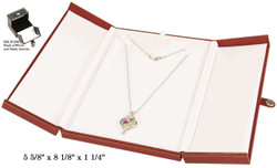 Large Black/White Necklace Snap-Tab Leatherette Box