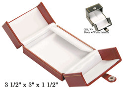 Black/White Clip Earring Snap-Tab Leatherette Box