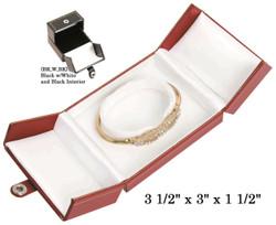 Black/White Bangle/Watch Snap-Tab Leatherette Box