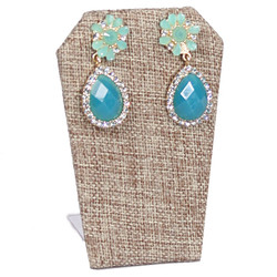 Burlap Fabric Single Slant-Edge Earring Display Stand