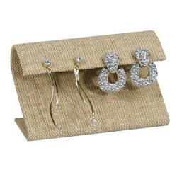 Burlap Fabric Single Large Curved Earring Display