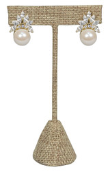 "Burlap Fabric Single Earring T-Stand 5 3/4""H Display"