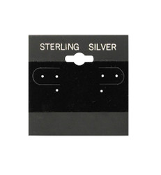 """Sterling Silver"" Silver Font Printed Black Hanging Earring Cards - 2"" x 2"""