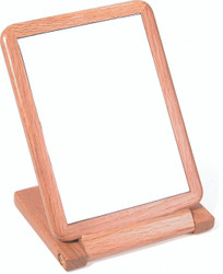 Heavy duty Natural Faux Wood Small Folding Mirror