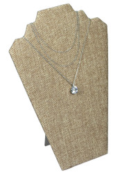 "Burlap Fabric 12 1/2""H Necklace Display with Easel"