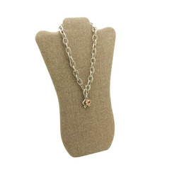"Burlap Fabric 14 1/4""H Necklace Display with Easel"