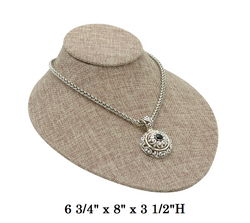Burlap Oval Shaped Lay-Down Jewelry-Displays