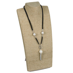 "Burlap Tall Necklace Display with Easel 13 1/2""H"