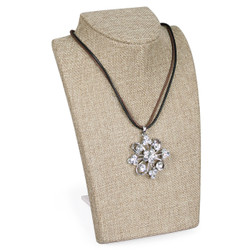 Burlap Midsize Necklace Display with retractable Easel