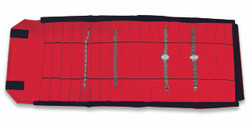 Black/Red Deluxe Velvet Jewelry Rolls - 20 Sections (Watch/Bracelet)