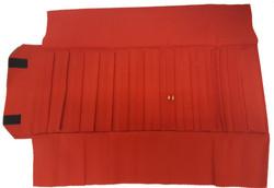 Black/Red Deluxe Velvet Jewelry Rolls - Up to 140 pr. (Earrings)