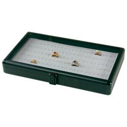 """Black Glass-Top Small Attache Case - 14 7/8"""" x 8 3/8"""" x 2 1/8""""H"""