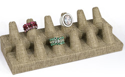 Burlap Fabric 12 Ring short finger Jewelry Display