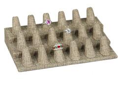Burlap Fabric 18-Ring Finger Jewelry Display