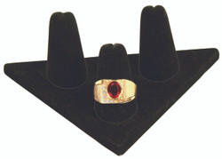 Black Velvet 3-Ring Short Finger small Triangular Jewelry Display