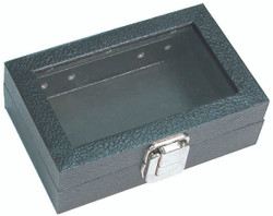 "X-Small Glass Top Lid with Metal Claps Display Tray - 6"" x 3 3/4"" x 2""H"