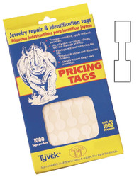 Rectangle White Dumbell Adhesive Tear-Proof Tags (1000pcs/Box)