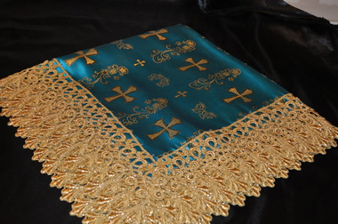 Turquoise Satin Lap Scarf with Gold Crosses and Gold Lace