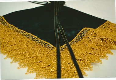 Black Satin Lap Scarf with fingering (optional) and Gold Lace