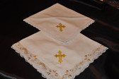 White Cotton Hankies with Golden Cross
