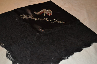 "Black Satin Lap Scarf ""Walking In Grace"""