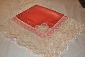 Apricot Satin Lap Scarf with Scalloped Ivory Lace and Flower