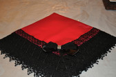 Red Satin Lap Scraf with Black Lace and Rhinestone Center Bow
