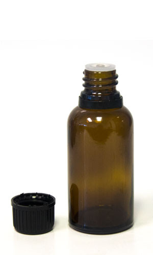 30ml Amber Essential oil bottle with tamper evident cap & orifice reducer