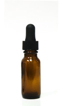 15ML (.5oz) Amber Boston Round Bottle With Regular Dropper (BLACK)